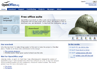 Screenshot du nouveau site d'OpenOffice